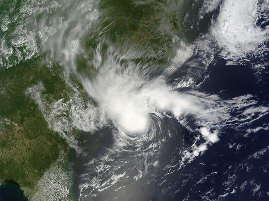 Tropical Storm Alberto, just off the coast of the Carolinas.
