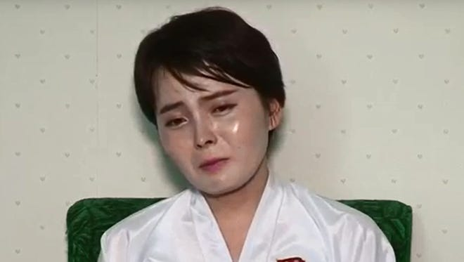 This undated screen grab taken on July 19, 2017 from video posted by www.uriminzokkiri.com shows North Korean defector Lim Ji-Hyun, who appeared in several South Korean TV shows featuring North Korean refugees after settling in Seoul in 2014, speaking on North Korean propaganda television at an unknown location in the North.