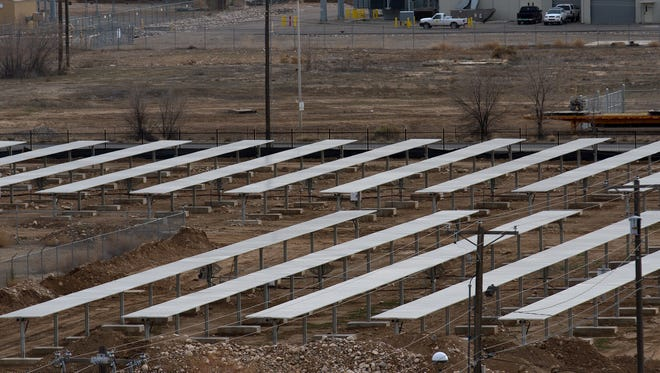 San Juan Regional Medical Center's solar farm is pictured on Monday. Farmington's Public Utility Commission will meet Wednesday to discuss proposed rate changes, including  a standby service rider for customers who generate their own solar power. The rider would apply to customers who install solar after the rates take effect and would not affect the hospital's solar array.
