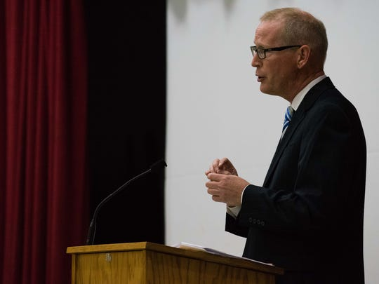 Jim Haadsma, Democratic candidate for the 62nd state House District, speaks during a forum in July.