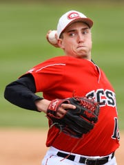 St. Cloud State pitcher Cal Giese throws to a Concordia batter  during the fourth inning of the NSIC championship game Sunday, May 15, at Joe Faber Field in St. Cloud.