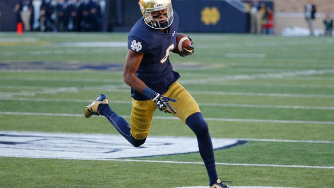 Notre Dame wide receiver Equanimeous St. Brown heads to the end zone during a game against Miami (Ohio) on Sept. 30, 2017, in South Bend, Ind.