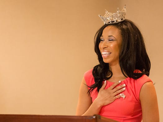 Brittany Lewis speaks after being crowned Miss Delaware at the Dover Downs Hotel and Casino in Dover Thursday, June 26, 2014.