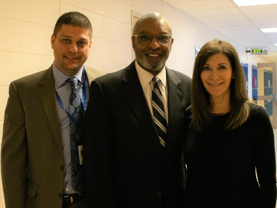 The Rev. Dr. DeForest B. Soaries Jr. (center), pictured with Roosevelt Intermediate School Assistant Principal Brian Gechtman and Pamela Friedman, teacher and organizer, was the keynote speaker at Roosevelt Intermediate School's annual assembly honoring Black History Month.