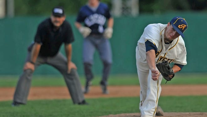 Purdue's Evan Warden pitches for the Aviators against the Butler Blue Sox Thursday night at Loeb Stadiumj.