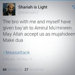 A screenshot of a tweet from an account claiming responsibility for the Garland attacks. It was suspended.