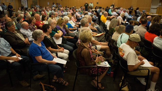 The Doña Ana County Commissioners chamber was filled to capacity Tuesday, June 27, 2017. Many of the residents gathered at the commission meeting to give input on the two resolutions on the agenda concerning  the Organ Mountain Desert Peaks Monument. A second room was opened for over flow with screens showing the meeting live to those that could not find a seat in the chambers.
