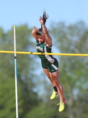 East Brunswick's Kayla Flynn clears eight-feet in the pole vault at the GMC Relays on May 3, 2017 at South Brunswick High School.