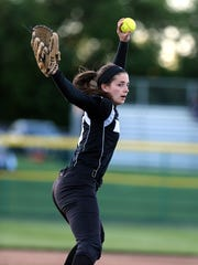 Bridgewater pitcher Sammy Mazzagattii threw a two-hit shutout Monday as the Panthers topped Montgomery 1-0 in the Somerset County final at Torpey Field. May 15, 2017 photo by Ed Pagliarini