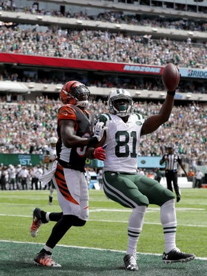 Quincy Enunwa #81 of the New York Jets reacts after a touchdown during their game at MetLife Stadium on September 11, 2016 in East Rutherford, New Jersey.