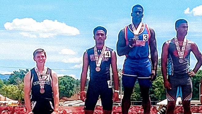 Freshman Wildcat sprinter Cesar Chavez (second from left) ran the third-fastest time in the 100m dash at the Class 5A State Track and Field Championships.