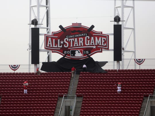 The 2015 All-Star game logo will serve as a reminder to Great American Ball Park fans above the seats in right field.