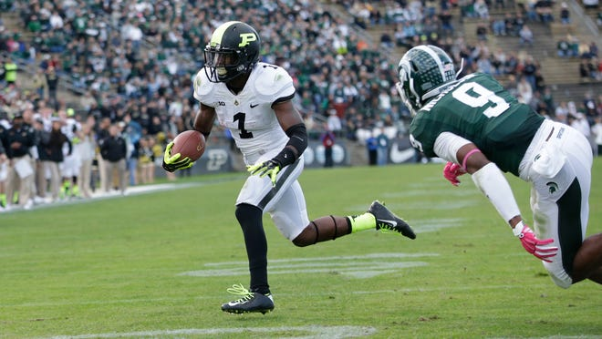 Purdue running back Akeem Hunt (1) as Michigan State played Purdue in an NCAA college football game in West Lafayette, Ind., Saturday, Oct. 11, 2014. Michigan State won 45-31. (AP Photo/AJ Mast)