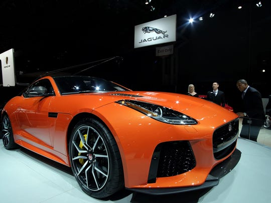 The Jaguar F-type SVR is pictured during the New York International Auto Show on March 23, 2016. / AFP PHOTO / Jewel SAMADJEWEL SAMAD/AFP/Getty Images