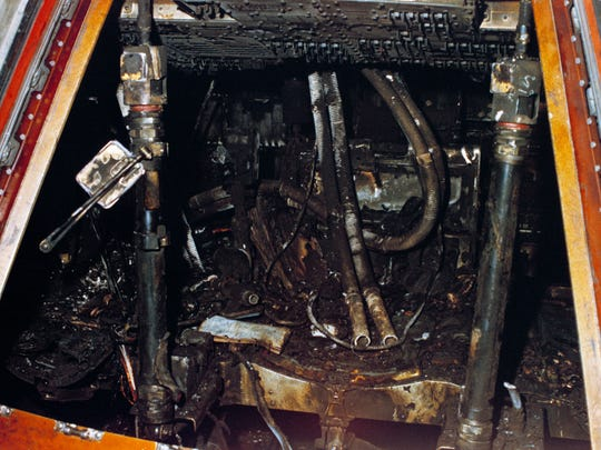Jan. 28, 1967. Close-up view of the interior of Apollo Spacecraft 012 Command Module at Pad 34 showing the effects of the intense heat of the flash fire which killed the prime crew of the Apollo/Saturn 204 mission. Astronauts Virgil I. Grissom, Edward H. White II, and Roger B. Chaffee died in the accidental fire.