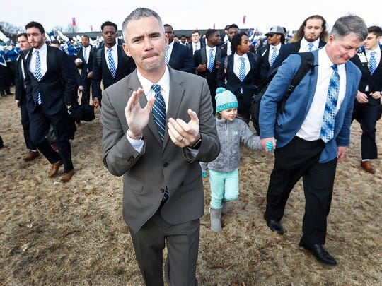 Memphis head coach Mike Norvell takes part in Tiger Walk before taking on Iowa State in the AutoZone Liberty Bowl in Memphis, Tenn., Saturday, December 30, 2017.