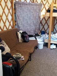 A look inside a yurt at Waupaca S'more Fun Campground.