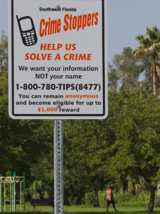 Crime Stoppers sign for ONLINE
