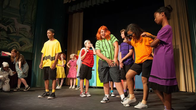 """Rehearsal Friday for """"You're a good man, Charlie Brown"""" performance at the grand opening of the Milton Theatre."""