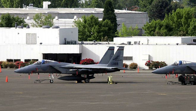 F-15 parked on the tarmac at the Oregon Air National Guard base in Portland in 2005.