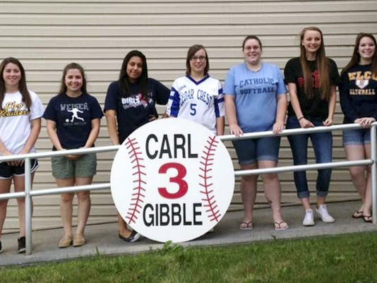 The annual award of the Carl â  Gibâ   Gibble Memorial Scholarship was recently presented recently to nine students from local area high schools. Recipients are , from left, Clair Shaak, Elco; Jessica Turco, Conrad Weiser; Narcisa Torres Moran, Lebanon; Natalya Carpenter, Cedar Crest; Amy Buckley, Lebanon Catholic; Katelyn Burrows, Annville-Cleona; and Emily Weaver, Elco.  Missing from the picture, Hannah Reese, Northern Lebanon and Michael Arndt, Palmyra. Since its inception in 1991, the scholarship has awarded over $110,000 to 219 area seniors.  This yearâ  s recipients each received a check for $500 towards pursuing higher education. Submitted