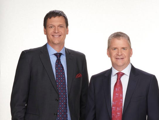 NBC Sports analysts Steve Letarte, left, and Jeff Burton