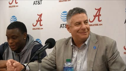 Bruce Pearl smiles after Auburn's 82-77 win at Alabama last month.
