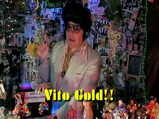 "TV pitchman Vito Gold is just one of the zany characters that host Pete Letkiewicz plays on ""The Dark Vault of Public Domain."""