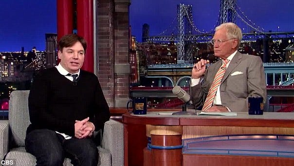 Mike Myers chats with David Letterman