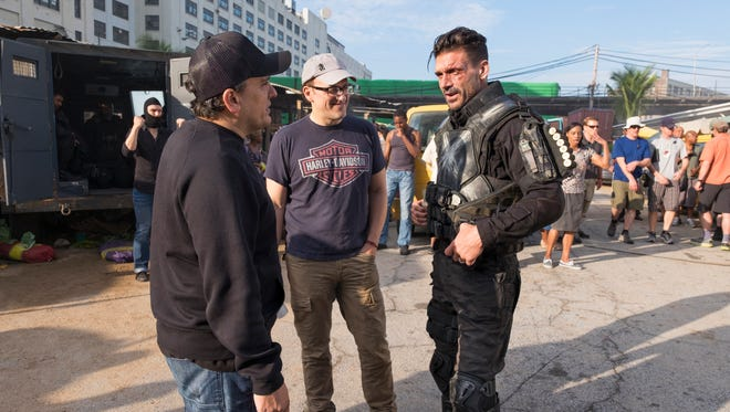 Captain America: Civil War, L to R: Director Joe Russo, Director Anthony Russo, and Frank Grillo (Crossbones/Brock Rumlow) on set.