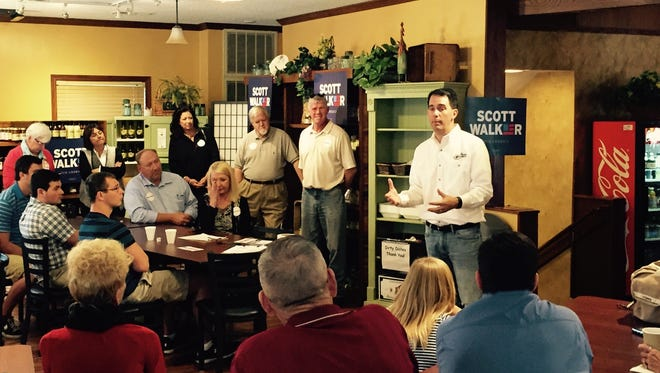 Scott Walker campaigns in Amana on Sunday.