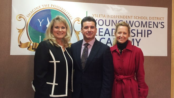 Ysleta Independent School District Superintendent Xavier De La Torre poses with Young Women's Leadership Academy Principal Malinda Villalobos, left, and Young Women's Preparatory Network CEO Lynn McBee.