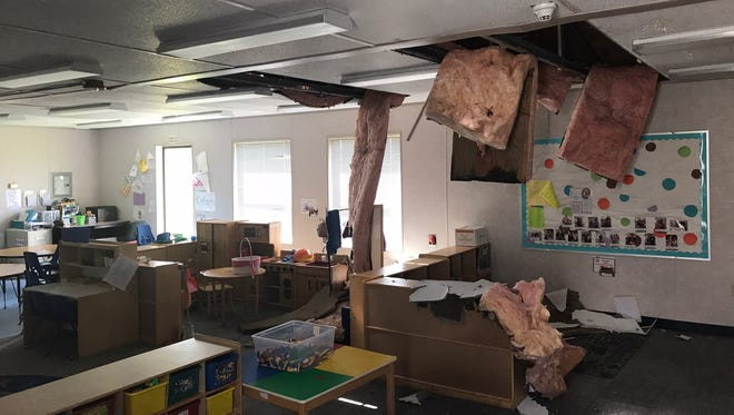 A portable campus at Lehigh Elementary School had ceiling tiles and insulation fall into the classroom area.