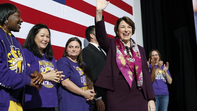 Democratic presidential candidate Sen. Amy Klobuchar, D-Minn., waves before taking the stage at a Service Employees International Union forum on labor issues, Saturday, April 27, 2019, in Las Vegas.