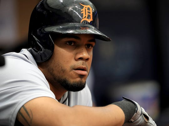 Tigers third baseman Jeimer Candelario looks on during