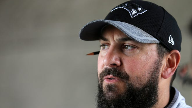 Patriots defensive coordinator Matt Patricia takes questions from the media at Gillette Stadium, July 27, 2016 in Foxborough, Mass.