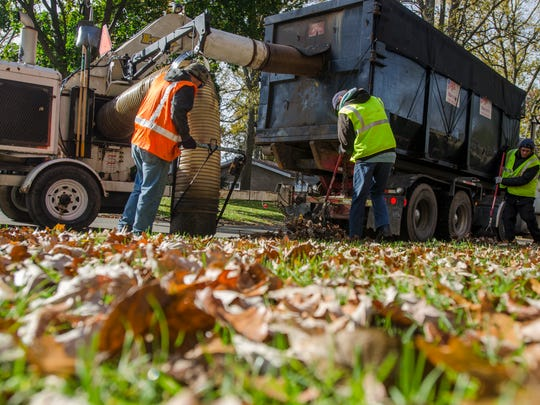 Marcotte crews pick up leaves Monday, Oct. 31, 2016,