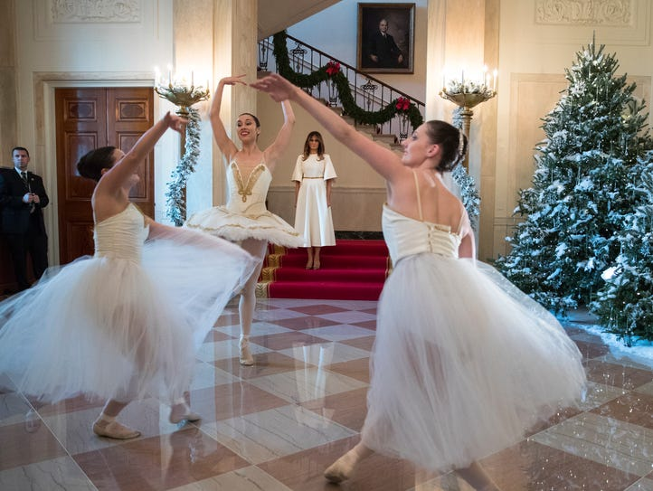 First lady Melania Trump watches as ballerinas perform'The