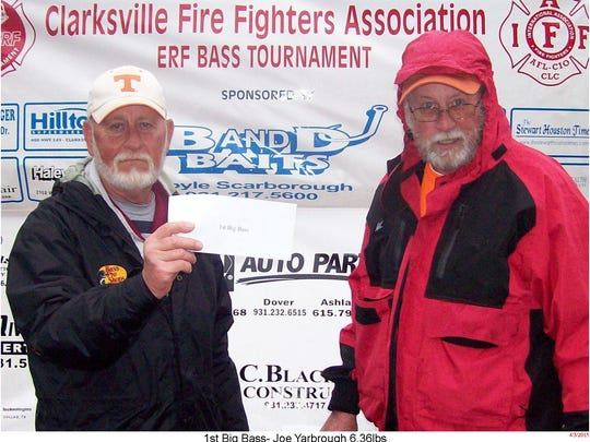 Joe Yarbrough, left, won the Big Bass award for the with a 6 pound 6 ounce bass. He is pictured with event organizer Robert Cruise, right.