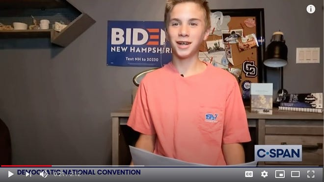 Brayden Harrington, 13, of Concord, N.H., talks about how Joe Biden helped him with his stutter in a video that played as part of the Democratic National Convention on Thursday.