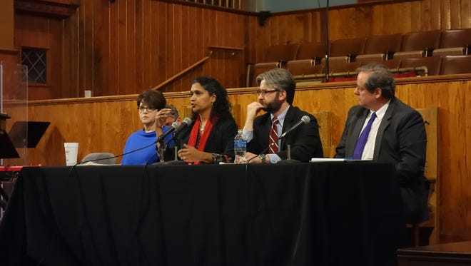Furman history professors  Diane Vecchio, Savita Nair, Lane Harris and Lloyd Benson (left to right) participate in a panel discussion Tuesday night at the Triune Mercy Center.