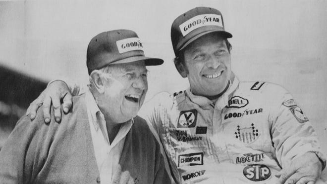 Car owner Lindsey Hopkins, left, and driver Gary Bettenhausen share a moment after Bettenhausen qualified for the Indianapolis 500 Mile Race with a speed of 190.870 mph. on May 17, 1981. Hopkins said it would be his last year at the Indianapolis Motor Speedway.