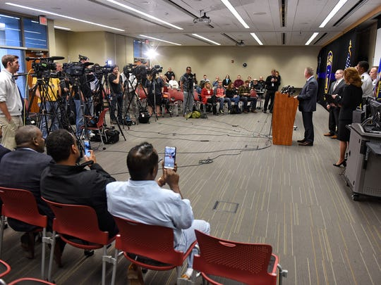 St. Cloud Mayor Dave Kleis speaks during a press conference on the recent mall stabbing Wednesday, Oct. 6, at the St. Cloud Police station.
