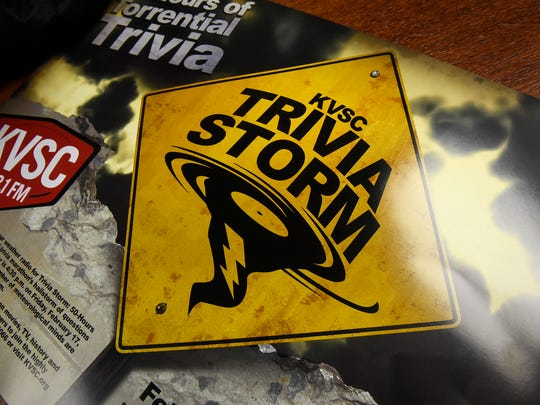 A promotional poster highlights the theme for KVSC-FM's trivia contest this year.