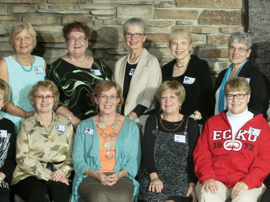 Pictured are Diann (Lasinski) Swalve, front row from left, Betty (Laskowski) Wendt, Rita(Schmutzer) Molepske, Mary (Steward) Miller, Carolyn Bronk, Char (Adams) Kolinski; Ginny (Wroblewski) Baeten, back row from left, Cammy (Yach) Spatzek, Sue (Corcoran) Trailer, Carol Molepske, Penny (Kobach) Copps, Rose (Walashek) Stoltz and Marilyn (Bronk) Jushka.