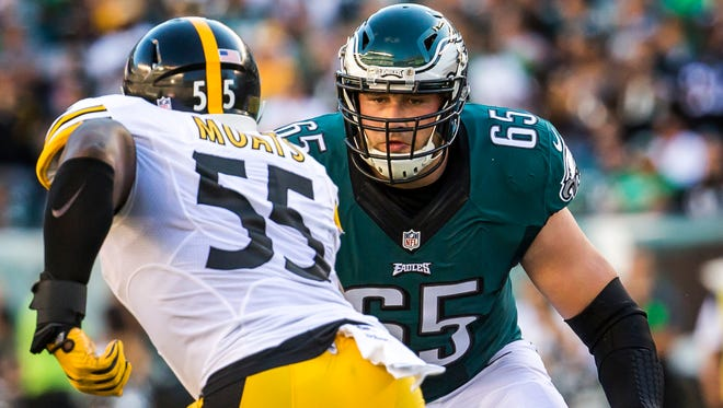 Eagles right tackle Lane Johnson (No. 65) moves to block Steelers linebacker Arthur Moats (No. 55) in the first quarter of a game between the Philadelphia Eagles and Pittsburgh Steelers in Philadelphia on Sunday afternoon.