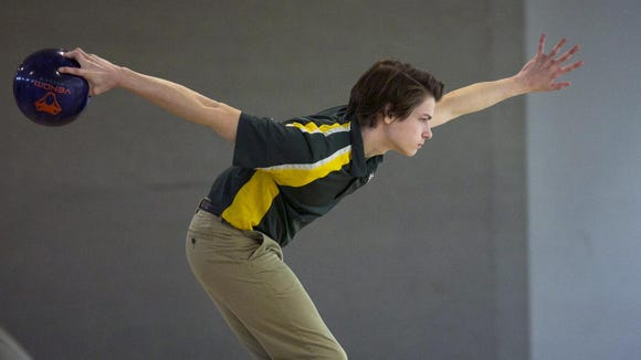Robert Murray of Morris Knolls bowls in the Morris County Tournament at Rockaway Lanes, Rockaway on Thursday.