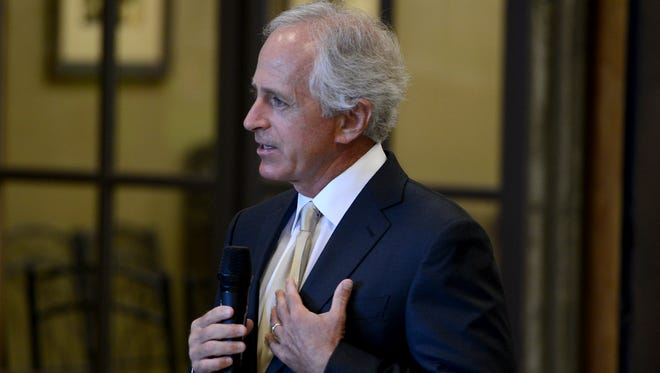 Senator Bob Corker spoke at the West Tennessee Mayors' Association event at the Southwest Tennessee Development District, Wednesday.