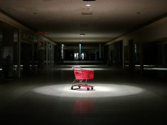 A Target shopping cart rests beneath the center of