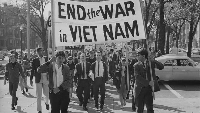College students march against the war in Boston. Oct. 16, 1965 in 'The Vietnam War.'